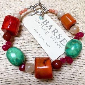 NWT BARSE Coral Multi-Stone Bracelet Sterling 925